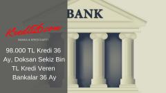 98.000 TL Kredi 36 Ay, Doksan Sekiz Bin TL Kredi Veren Bankalar 36 Ay